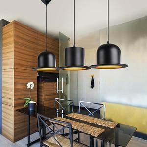 Image 2 - Retro Pendant Lamp Jazz Top Hat Aluminum Pendant Lamp 110v 220v E27 Outside Black Inside Golden Bar Counter Bedroom Cafe Lamp