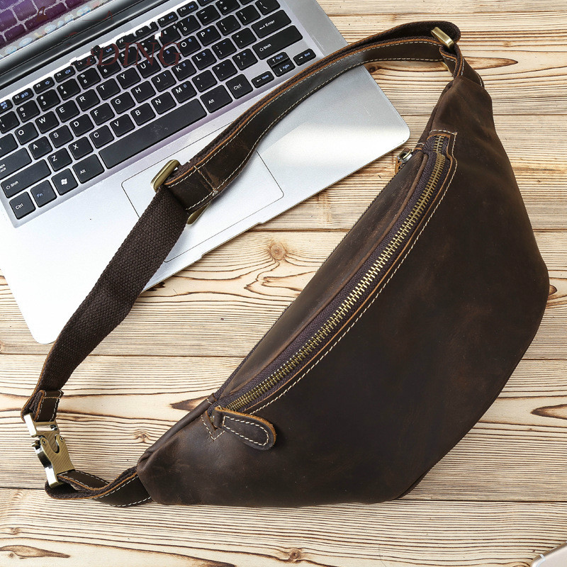 91cd9205 US $66.0 |Tiding Full Grain Leather Waist Pack Men Fanny Pack Vintage Bum  Bag Day Pack Pouch Hip Belt Bag Brown Chest Bags Small Messenger-in Waist  ...