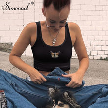 Simenual Butterfly Embroidery Casual Tank Tops for Women Basic Slim Tanks Summer 2019 Fashion Crop Top Sleeveless Streetwear New(China)
