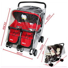 Universal Baby Twins Stroller Rain Cover Windshield Cover Double Stroller Rain Cover for Stroller Waterproof Rain Dust Cover все цены