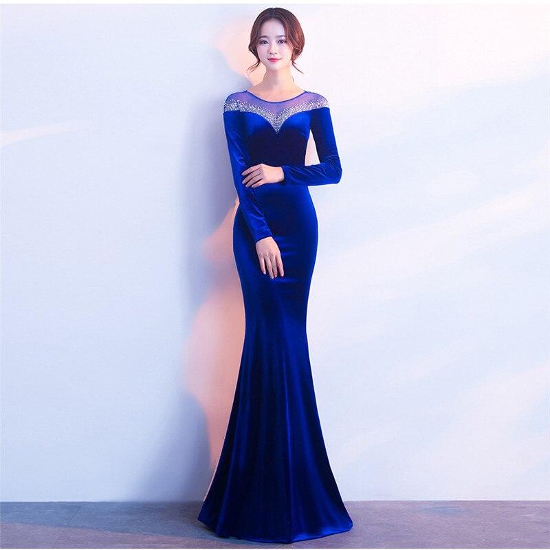 Dress Velvet  2020 Vestido Longo Plus Size Hot Sale Full Mesh Party Autumn Long Sleeve Company Annual Meeting Host Fish Tail