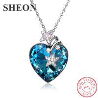 SHEON Luxury Heart Crystal Pendant 925 sterling silver Starfish Necklace Sweater Chain for Women Fine Wedding Jewelry Gift
