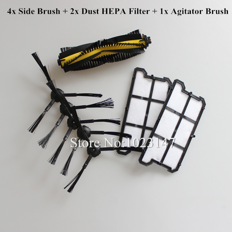 2x Dust HEPA Filter + 1x Agitator Brush + 4x Side Brush kit for Ecovacs Deebot Deepoo CR130,plus CR131,ilife V7 Robot Cleaner 3500mah 14 4v cleaner battery for ecovacs deebot d54 deepoo d56 d58 with free side brush