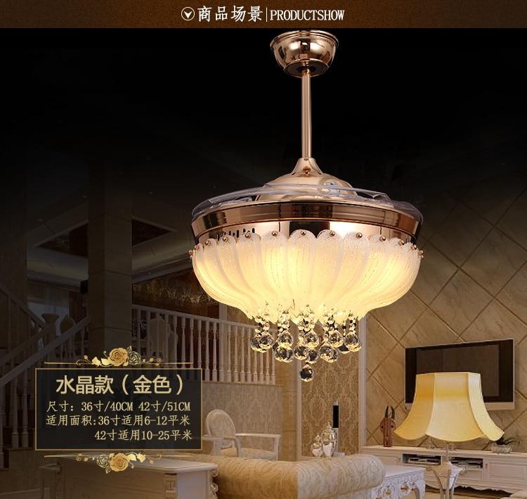 LED ceiling Crystal fan light stealth fan ceiling light living room restaurant folded modern minimalist European fashion fans