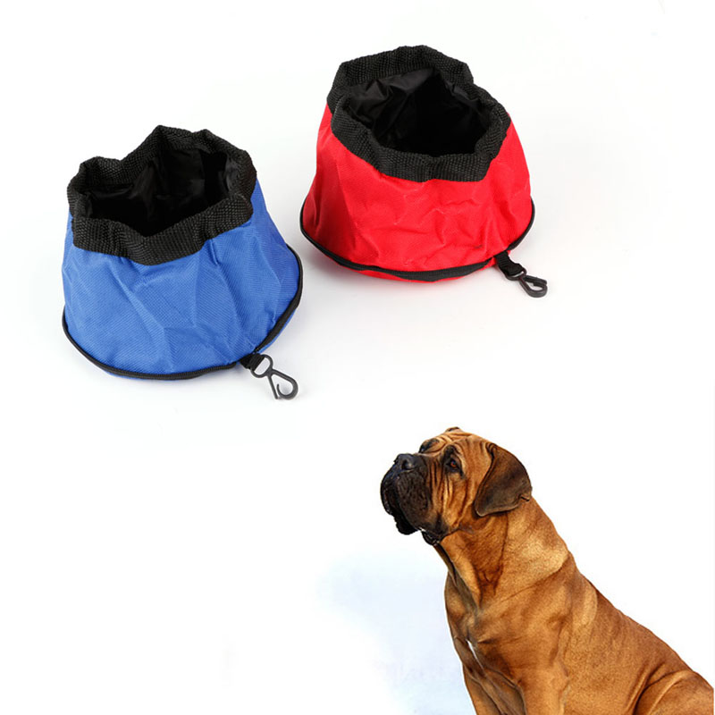 1PC Folding Pet Dog Dish Feeders 600D Oxford Cloth Waterproof Portable Zipper Foldable Travel Dog Food Water Bowl Pet Supplies