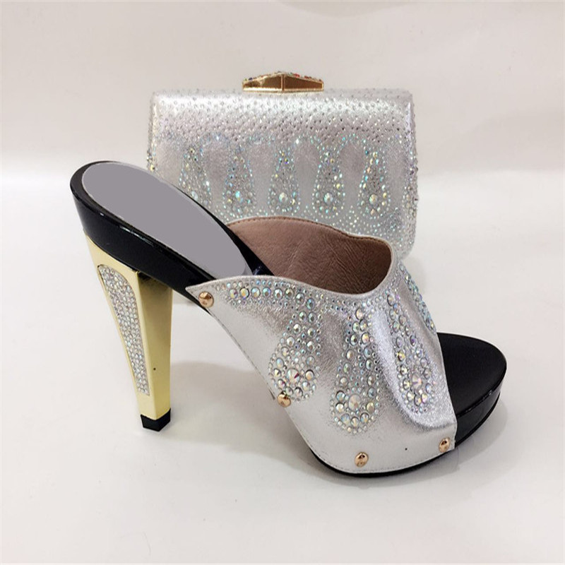 TYS17-52 Silver Fashion African Woman Pumps And Bag Rhinestone Shoes High Heels Party Sandals Shoes And Bag Free Shipping siketu 2017 free shipping spring and autumn women shoes fashion sex high heels shoes red wedding shoes pumps g107
