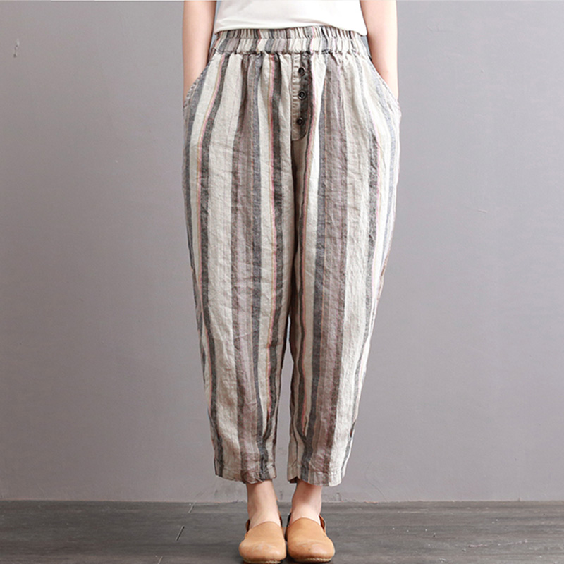 ZANZEA 2018 Women Elastic Waist Striped Casual Cotton Linen Retro Long Harem Pants Loose Pockets Pantalon Trousers Plus Size