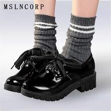 Plus Size 34-43 Fashion Spring Autumn Platform Casual shoes women square heel lace-up Soft Leather Oxfords Vintage Flats Shoes недорого