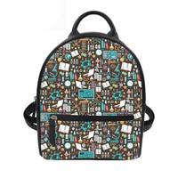 Women Backpack Mini Backpacks for Girls School Backpacks Men Travel Bags Cartoon Science Printing Pu Leather Backpack Hot