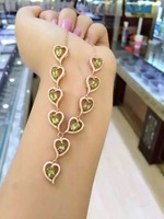 Natural Green Peridot Necklace Natural Olivine Pendant Necklace 925 Sliver Women Luxury Romantic Heart Peach Women