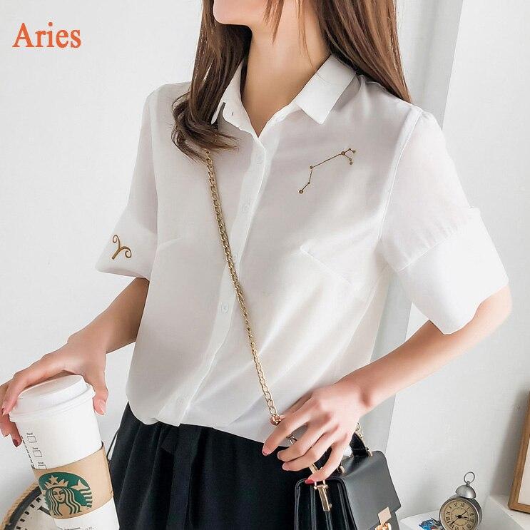 KYMAKUTU 12 Constellations Hímzés Női fehér blúzok Új köntös - Női ruházat