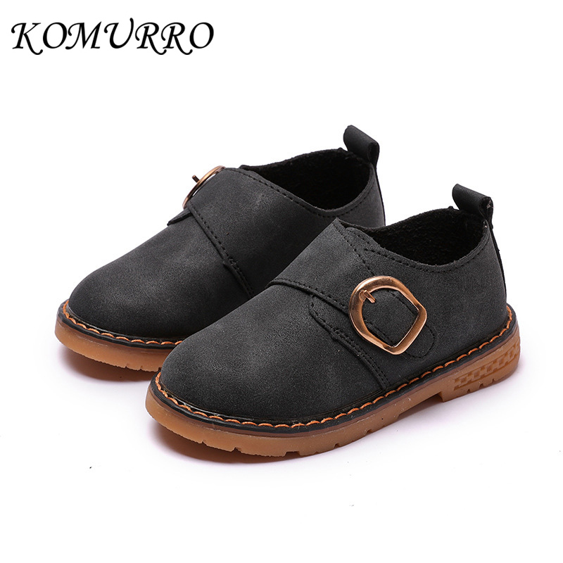 Kids Martin Shoes Boys PU Leather Anti-Slippery British Style Boy Shoes Children Casual Loafers Shoes For Children Boys Spring