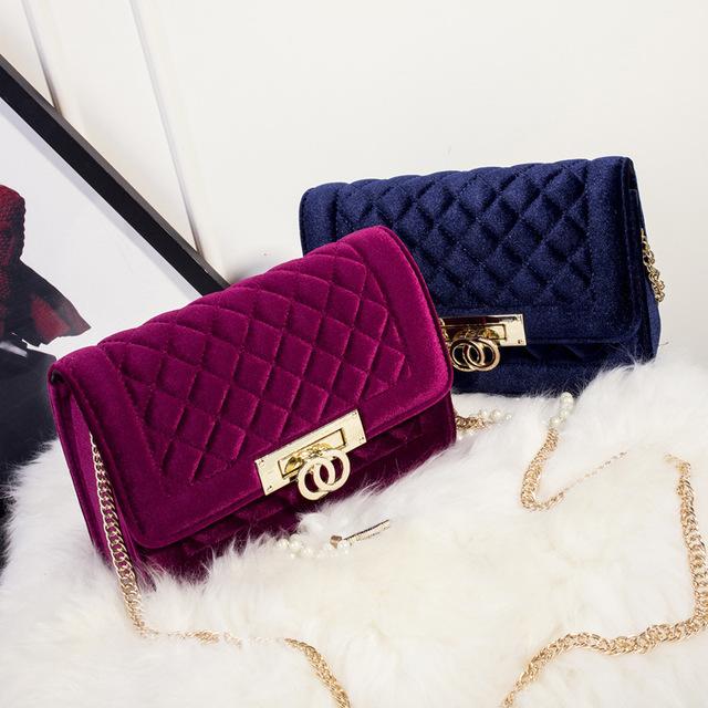 luxury velvet cross body Zipper clutch handbags