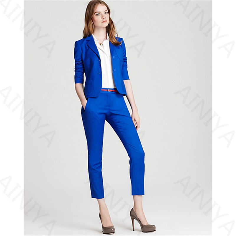 Compris Ensembles Recadrée Color Choose Bleu Chart 2 Costumes Avec As Pièce Royal Styles Picture Uniforme same De Dames D'affaires Travail Mince Vêtements Pantalon Bureau QCsdhrt