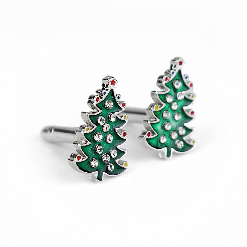 HANCHANG Christmas Gifts Luxury Crystal Enamel Christmas Trees Cufflinks For Men Women Shirt Cuff Buttons Cuff Links Gift