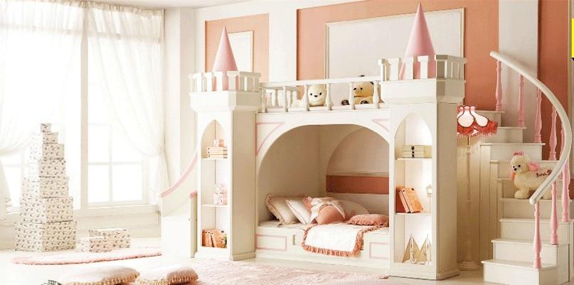 US $5635.0 |Principessa castello letti A Castello/Doppia Con Letti Singoli  letti mobili per bambini per le ragazze con la scala, cabinet libro e ...