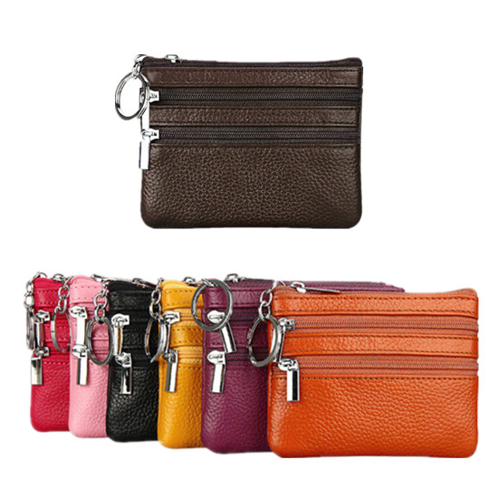 BrandFashion Brand Leather Handbag Multifunctional Clutch Card Holder Small Solid Clip Key Ring Wallet