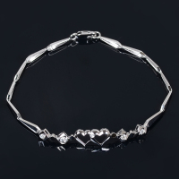 Double Hearts Diamond Charm Bracelet for Women 0.12ct Natural Diamond Solid 18K White Gold Handmade Fine Jewelry