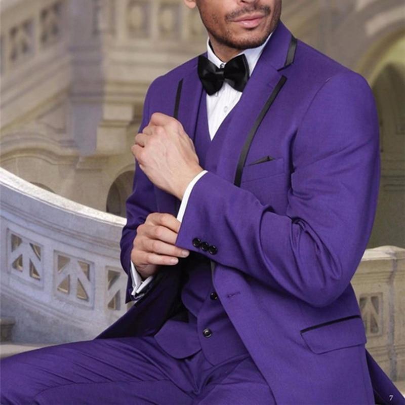 Custom Made Groomsmen Notch Lapel Groom font b suit b font Tuxedos 2017 slim Purple font