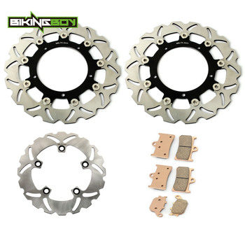 BIKINGBOY Front Rear Brake Discs Rotors Disks Pads for Yamaha YZF R1 1000 2004 2005 2006 Wave Round Full Set Replacement Motor