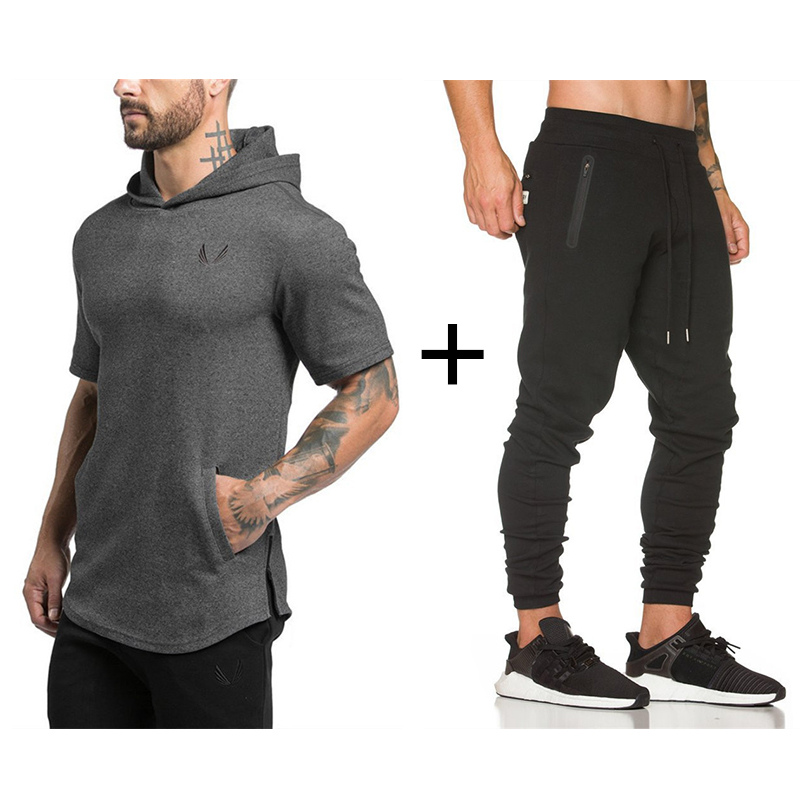 2019 Mens Gyms Sportswear Suit Tight Workout Elasticity Casual Short Sleeve Hoodies+Pants Cotton Trainings Fitness SportSuit