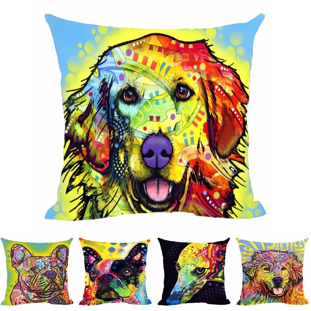 Stylish Dog Great Dane Cushion Cover Creative Animal Pet ნაცრისფერი ბამბის ბამბა პოლიესტერი გადაყარეთ ბალიშის ყუთი სახლის დივანი მისაღები ოთახისთვის