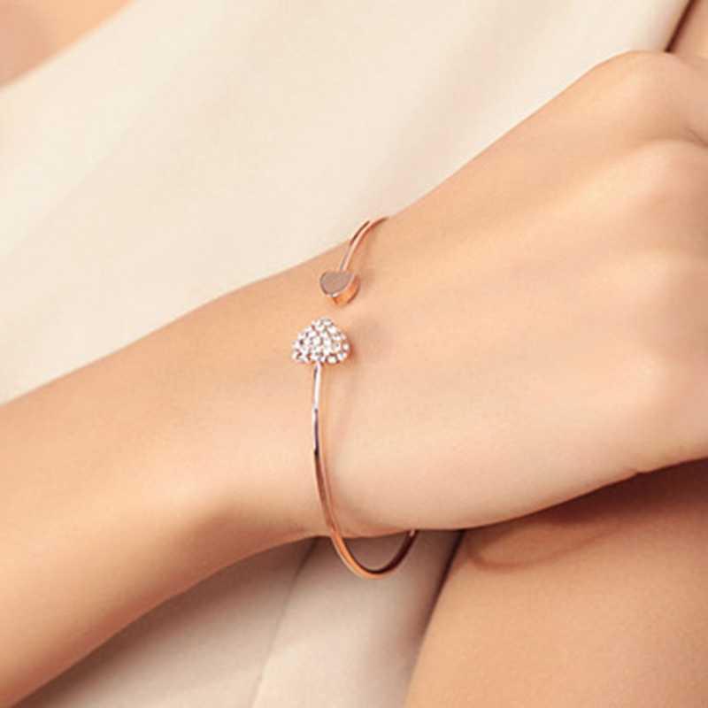 2019 sıcak yeni moda ayarlanabilir kristal çift kalp yay Bilezik manşet açılış Bilezik kadınlar takı hediye Mujer Pulseras 7g