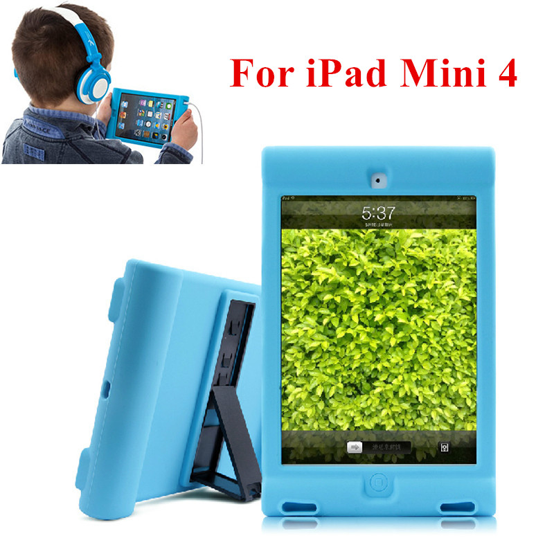 For APPLE IPAD MINI 4 7.9 Protective Shockproof Soft Silicone Case Cover with Hand Holder for Home Children School Kids Gamer shockproof kids children save protective