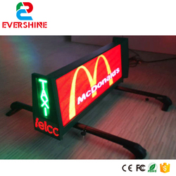 P6 double sides Taxi top advertising led video moving message display board