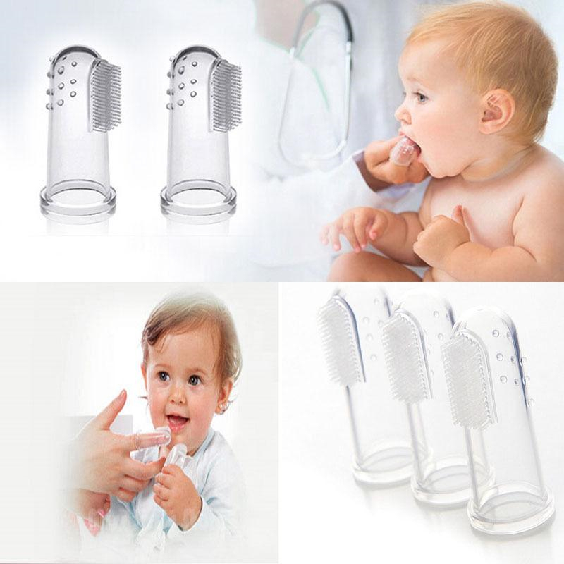 Finger toothbrush with box u-kiss baby infant soft silicone finger toothbrush teeth rubber massager children kids baby infant image