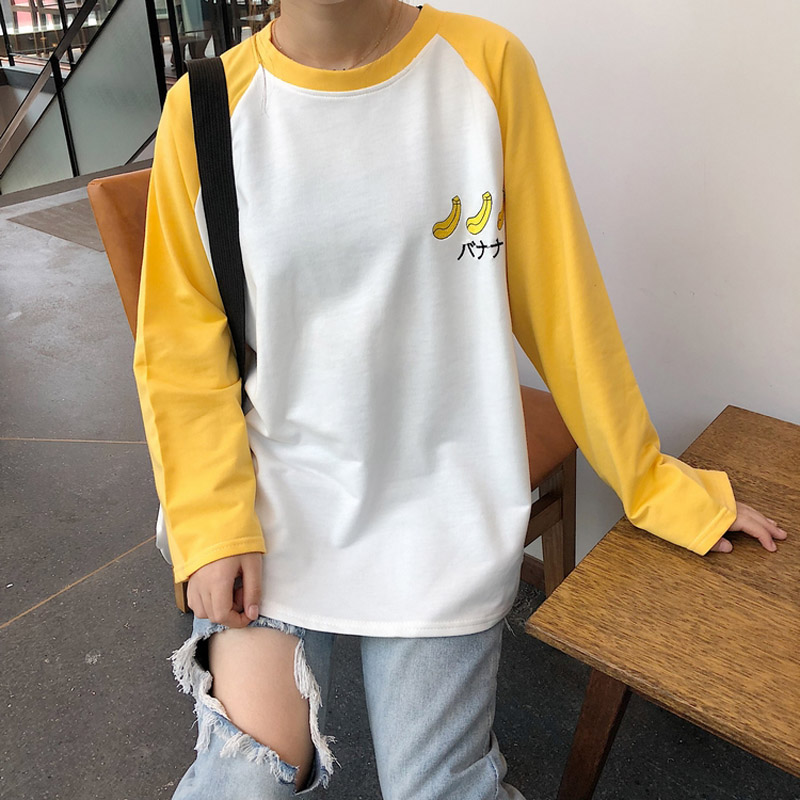 Kawaii Grape peach banana embroidery BTS raglan long-sleeved T-shirt female pullover loose 2018 Autumn New oversized Top