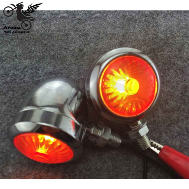 2 PCS chrome motorcycle Turn signal light Amber universal pro motorbike LED flashers for Harley-Davidson style sliver motocross