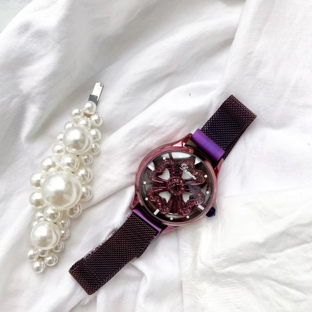 New Stylish Women Spinning Watches Sweet Hearts Flower Rotating Wrist watch Anti Fade Full Purple Milanese Watch Crystals Montre