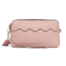 KANDRA 2019 New Genuine Leather Scalloped Clutches Removable Wristlet Plain Women Wallets Zipper Clutch Personalized Wholesale