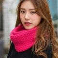 2016 New Fashion Coreano outono inverno scarf mulheres Quente Knit Neck Lã círculo Mistura Cowl Baixada Anel Cicatriz Longo xales Anel feminino