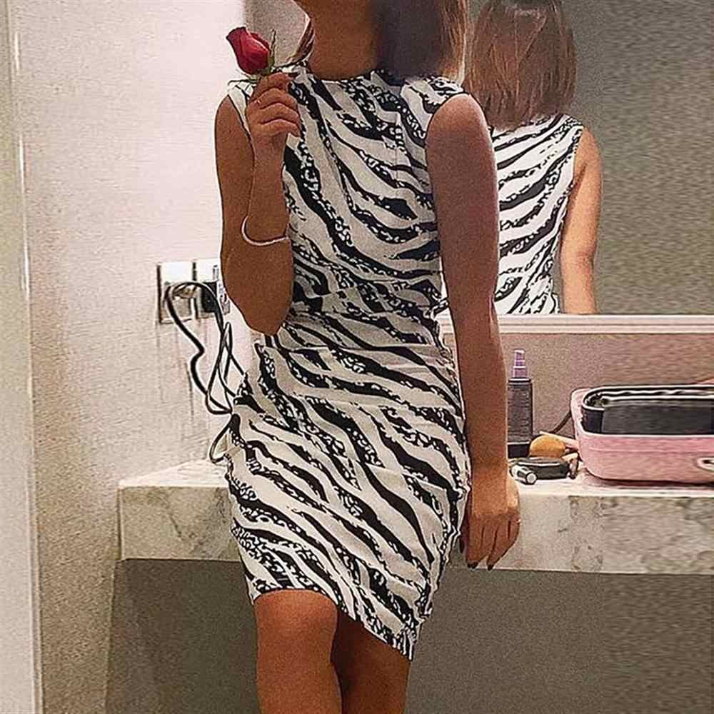 Летние платья с принтом животных, без рукавов, с высоким воротом, с принтом зебры, облегающее вечернее платье для женщин, элегантное, Hiver