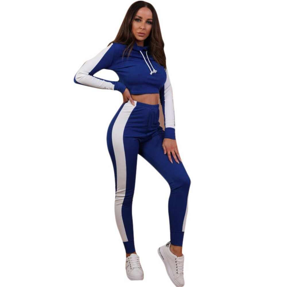 fa136ce07382 Women Fitness Yoga Set Gym Sports Running Hooded Tracksuit Jogging Dance  Sport Suit Workout Clothing T