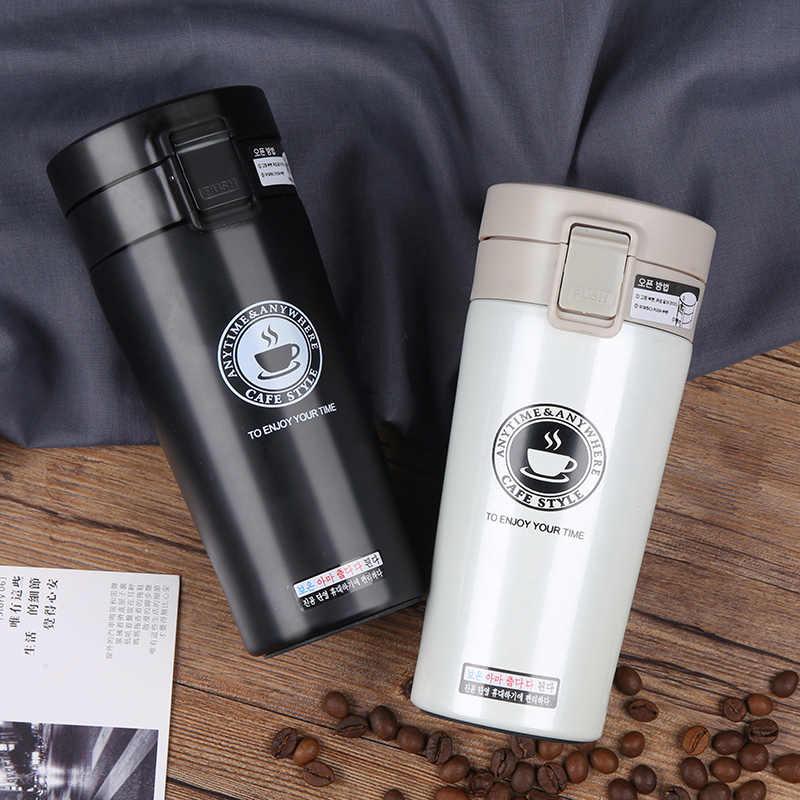 Frasco de vacío de acero inoxidable de doble pared de alta calidad, termo para coche de 380 ml, taza de viaje para café, té, termo, termo