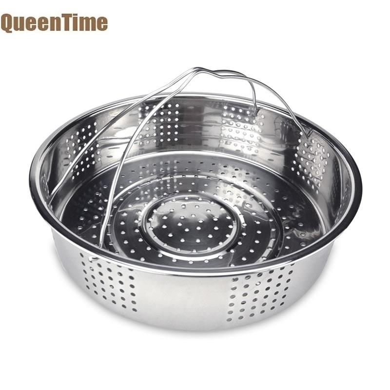 QueenTime Stainless Steel Steamer Basket Vegetable Colanders With Handle Food Steamer Kitchen Strainers Sieve Cooking Gadgets