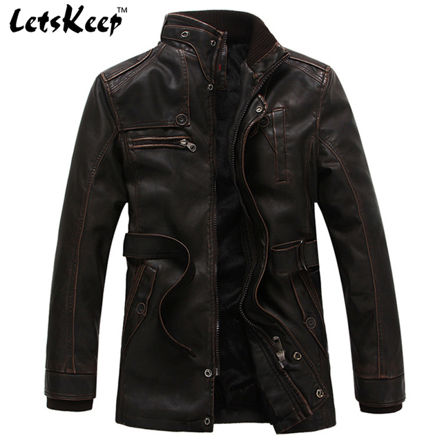 Letskeep 2016 New Winter PU Leather Moto Long Jacket Men Casual Retro Trench Coat Jackets Mens Thick Warm Overcoat,M-3XL,MA212