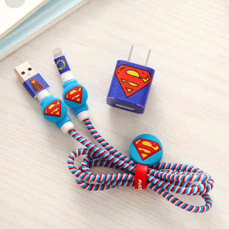 superman heros style usb cable earphone protector set with cable winder cartoon stickers spiral cord protector