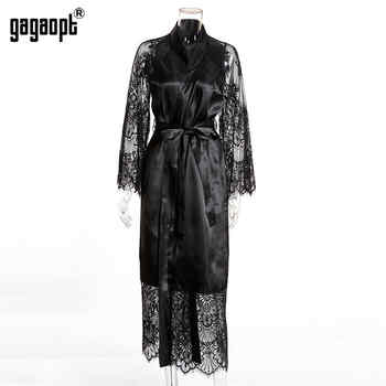 Gagaopt 2019 Spring 3 Colors Lace Nightgowns Women Long Sleeve Fashion Sexy Nightgowns With Belt Sleepwear