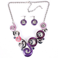 MS17880 Fashion Brand Jewelry Sets Silver Plated Unique Design Purple Necklace High Quality 2014 New Bridal