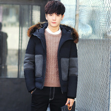 2017 New Long Winter Down Jacket With Fur Hood Men's Clothing Casual Jackets Thickening Parkas Male Big Coat down jacket