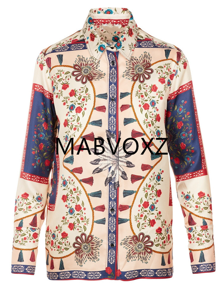 Women Shirts Long Sleeve National Vintage Standard Collar Casual Blouse Haut Femme