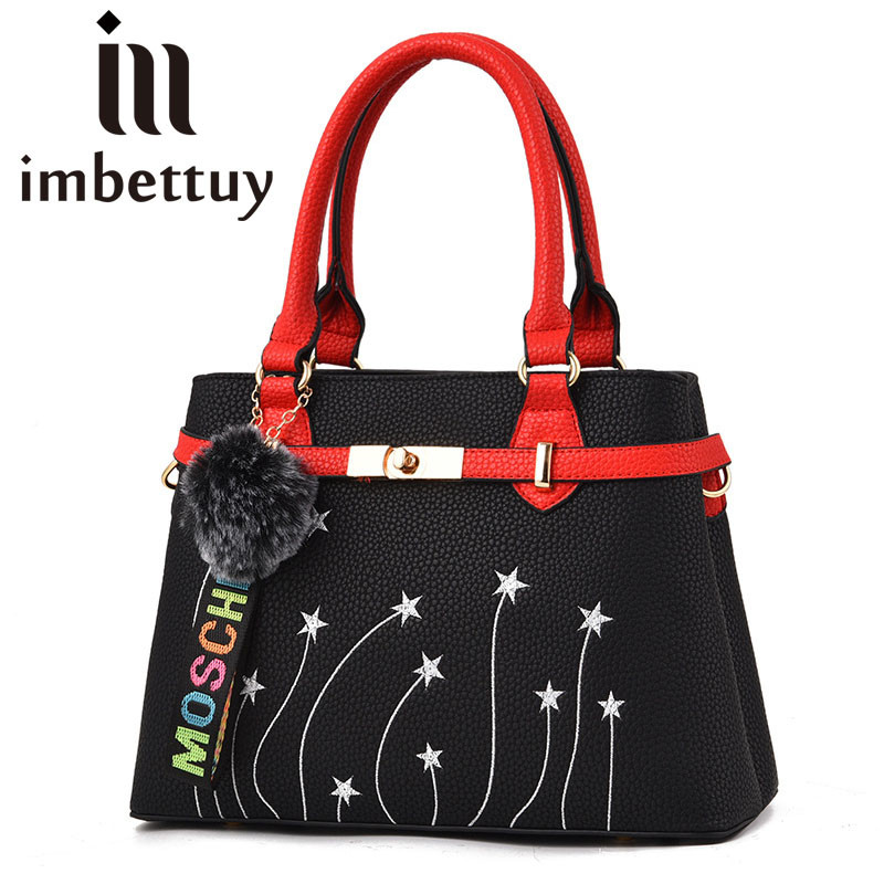 Imbettuy Women Embroidery Fur Trim Handbags Black Cross-Body Bag Leather Messenger Shoulder Bag For Girl feminina bolsos mujer diesel frill trim cross body bag