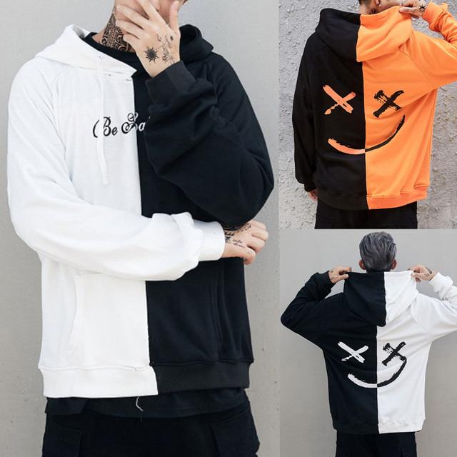 Feitong Men Causal Hoodies Sweatshirts Winter Teen's Smiling Face Print Hoodie Sweatshirt Jacket Pullover sudaderas para hombre