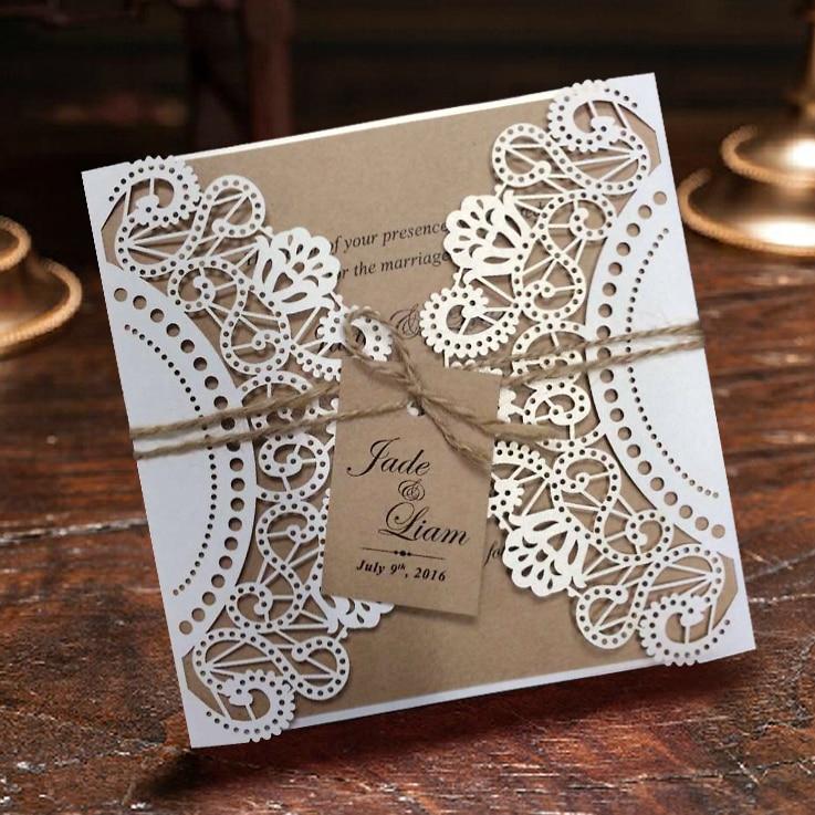 Wit Rustiek Huwelijksuitnodiging Kaarten, Aangepaste Kraft - Feestversiering en feestartikelen - Foto 1
