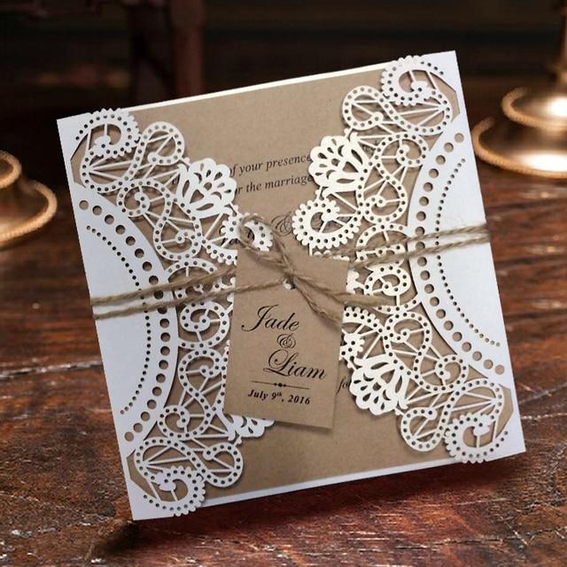 Aliexpress buy white rustic wedding invitation cards white rustic wedding invitation cards customized kraft invitations set of 50 filmwisefo