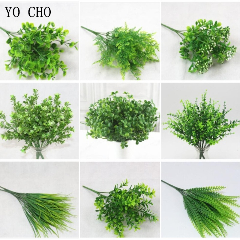 YO CHO Plante Artificielle 7 Forks Imitation Plastic Ferns Grass Green Leaves Fake Plants for Home Garden Outdoor Decoration